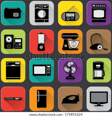 Home appliances icons with flat long shadow style