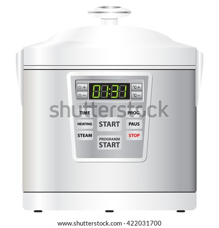 Home appliances. Kitchen appliances. Multi cooker silver. Modern multi cooker. Single. Isolated. Vector Image. Realistic style.