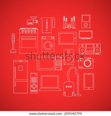 Home appliances line flat icon set with kitchen and audio video objects on red field - stock vector