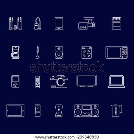 Home appliances  round line flat icon set with kitchen and audio video objects - stock vector