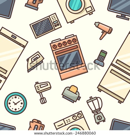 Home appliances seamless pattern. Vector illustration. - stock vector