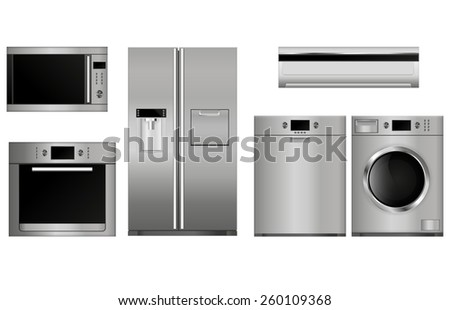 Home appliances. Set of household kitchen technics:  Microwave and electric  Oven, Dishwasher, refrigerator, split-system, washing machine.  Vector Illustration isolated on white background. - stock vector