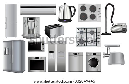Home Appliances. Set Of Household Kitchen Technics: Microwave And Oven,  Grinder, Dishwasher