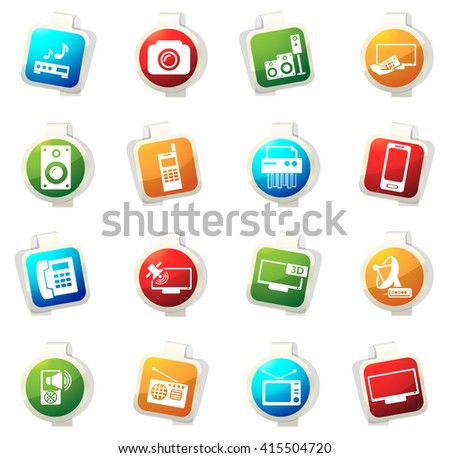 Home appliances stickers label icon set for web sites