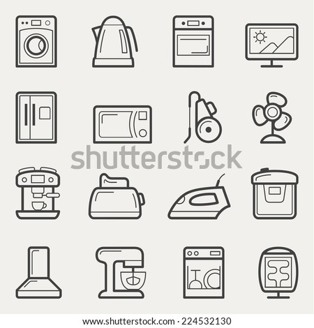 Home appliances vector icon set in line style - stock vector