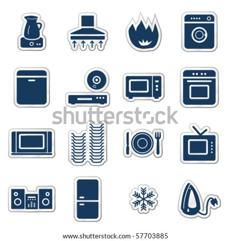 Home appliances web icons, navy sticker series - stock vector