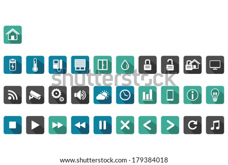 home automation icon set ,long shadow - stock vector