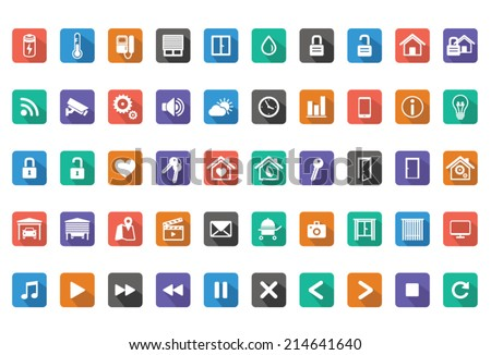 Home Automation, Smart Home Icon Set,Vector images - stock vector