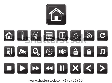 Home automation vector icon set - stock vector