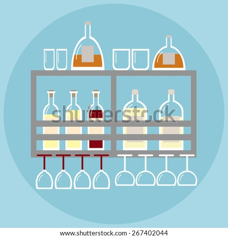 Home bar. Bar on the shelf in modern style with stemware and bottles of alcohol. Alcohol bottles. Alcohol bar. Flat style vector illustration.  - stock vector