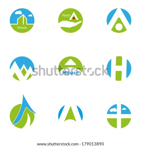 Home blue green Design Icons symbols Set isolated logo elements - stock vector