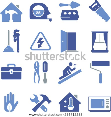 Home builder's icon set. - stock vector