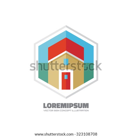 Home building - vector logo template concept illustration for presentation, booklet, website and other creative design projects. Real estate sign. Design element.