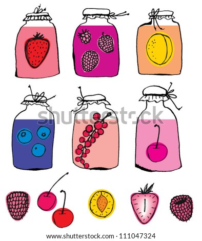 Home Canning of Summer fruits. - stock vector