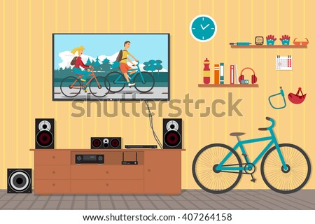 Home cinema system in interior room with bike. Home theater flat vector illustration. TV, loudspeakers, player, receiver, subwoofer for home movie theater and music in the apartment. Bi?ycle in room - stock vector