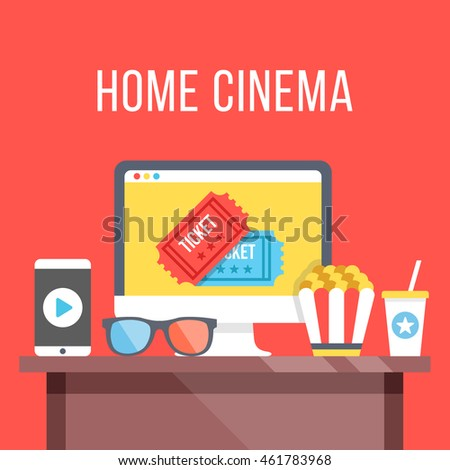 Home cinema. Table with desktop computer, cinema tickets on screen, 3D glasses, smartphone with play button, popcorn and soda. Watch movies online concept. Modern flat design vector illustration