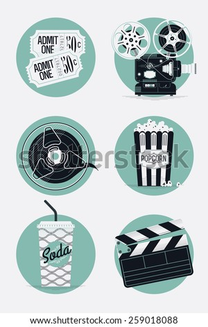 Home cinema vector concept design with clapperboard and cinema motion picture film reel - stock vector