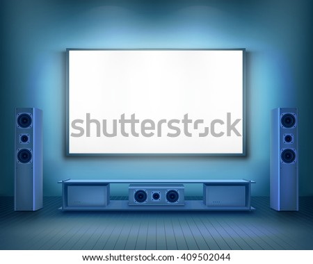 Home cinema.  Vector illustration. - stock vector