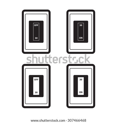 Home circuit breakers icon with on-off in flat style. - stock vector