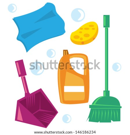 Home Cleaning Kit Cartoon Illustration - stock vector