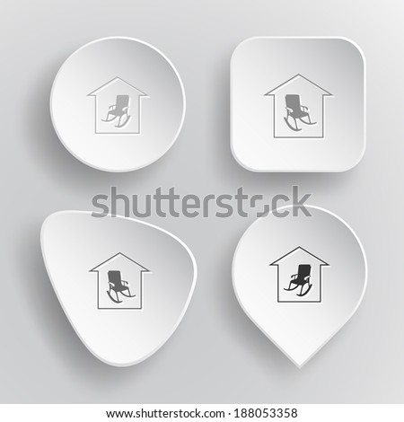 Home comfort. White flat vector buttons on gray background. - stock vector