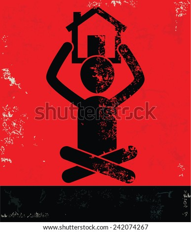 Home concept,human resource on red background,grunge vector