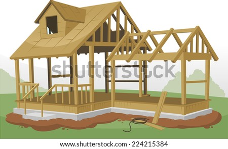 Home Construction Framing Structure, vector illustration cartoon. - stock vector