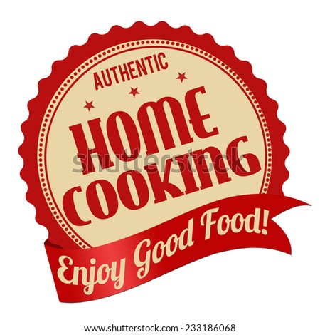 Home cooking label or stamp on white background, vector illustration - stock vector