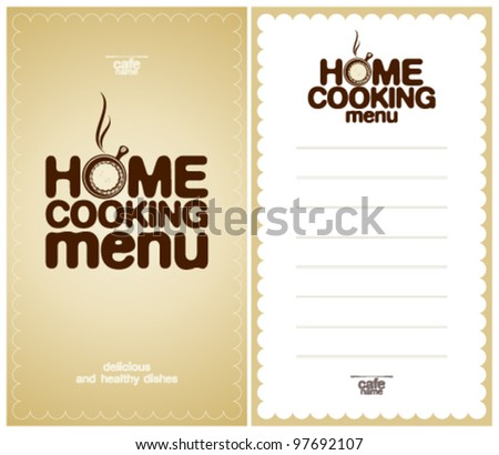 Home Cooking Menu Design template and the form for a list of dishes.