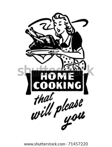 Home Cooking 3 - Retro Ad Art Banner - stock vector