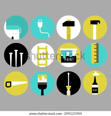 Home decoration and renovation tool icons. - stock vector