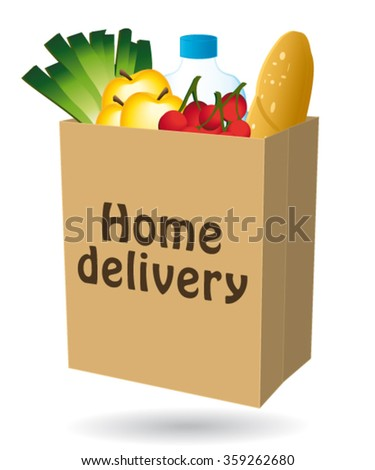 Home delivery shopping bag vector  icon I.  - stock vector
