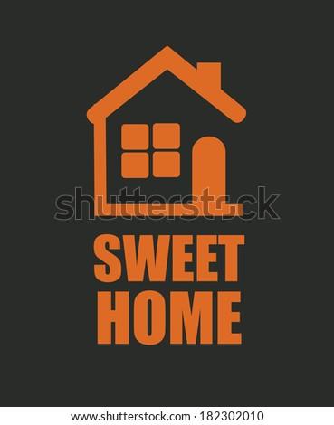 Home design over black background, vector illustration - stock vector