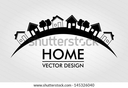 home  design over lines background vector illustration - stock vector