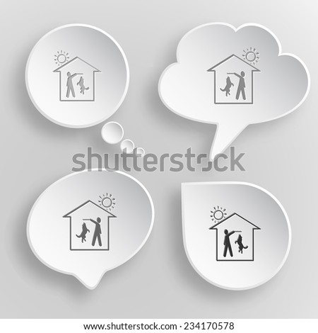 Home dog. White flat vector buttons on gray background. - stock vector