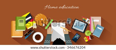 Home education flat design concept. Education kids, home school, home learning, workplace and paper, desk and work, workspace table, professional workstation, learning and coffee illustration - stock vector