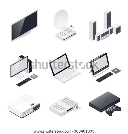 Home entertainment devices isometric icon vector graphic illustration