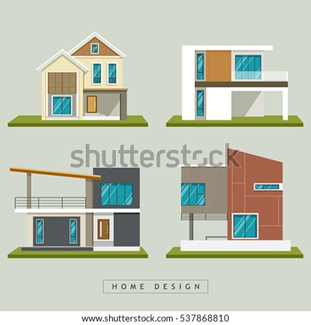 Elegant Home Exterior Design Collections, Vector Illustration