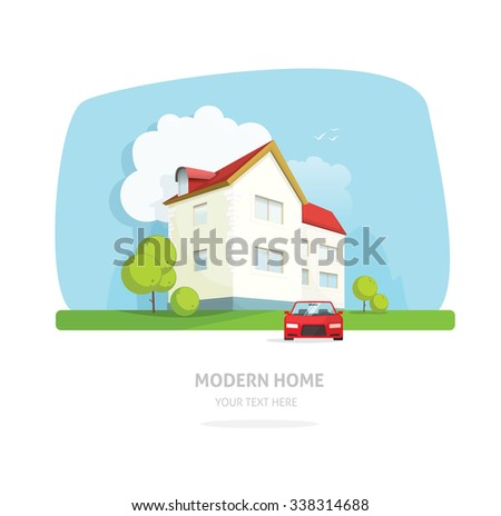 Home facade contemporary modern flat style. House traditional cottage vector  illustration. Bright family smart home front view with garden, sport car. Lovely home landscape card or postcard for rent - stock vector
