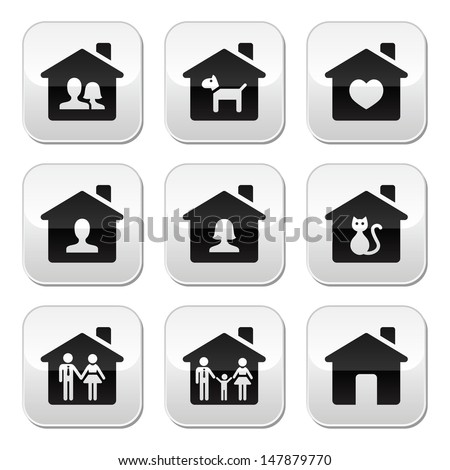 Home, family vector buttons set  - stock vector