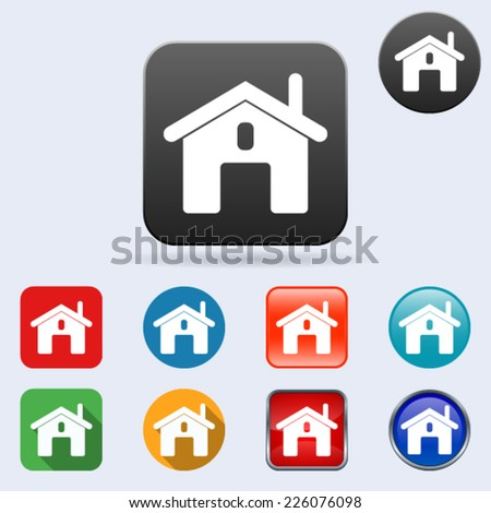 Home flat vector icons collection