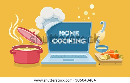 Home food cooking online recipes with laptop. Flat eps10 vector illustration - stock vector