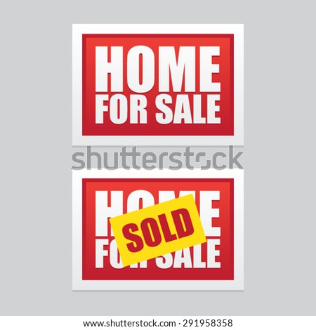 Home For Sale and Home Sold Signs - stock vector
