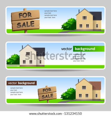 Home for sale banner set - stock vector