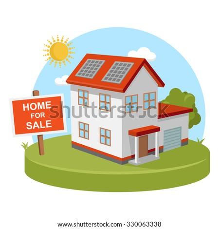 Vector Clipart Solar Energy Panels House Stock Vector