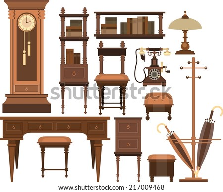 home furnishings of the old cabinet on a white background in retro style  - stock vector