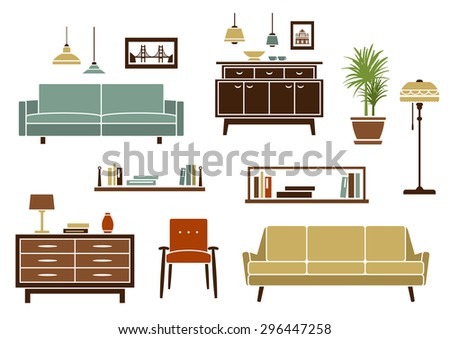 Home furniture and interior accessories with modern sofas and armchair, wooden bookshelves and chests of drawers, floor lamp and colorful pendant lamps. Flat style objects and icons - stock vector