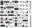 Home furniture icons set, isolated on white background, vector illustration. - stock photo