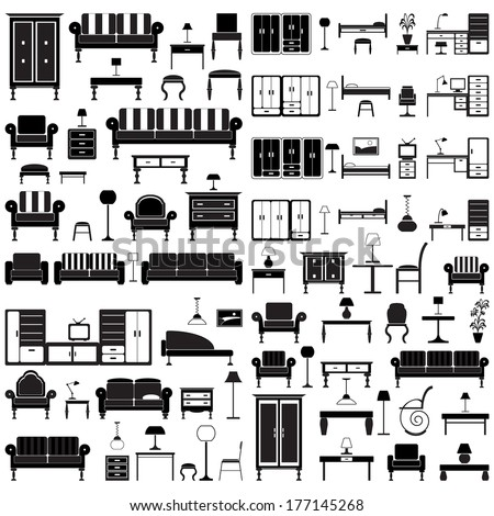 Home furniture icons set, isolated on white background, vector illustration.