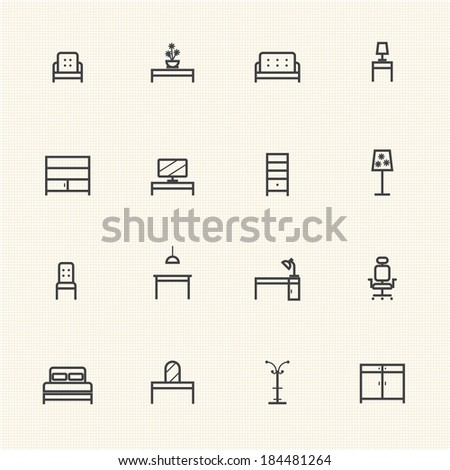Home Furniture Icons Set. Line icon - stock vector